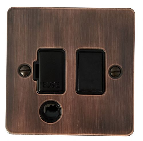 G&H FAC56B Flat Plate Antique Copper 1 Gang Fused Spur 13A Switched & Flex Outlet